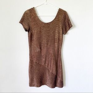 Free People bronze gold scoop back dress small